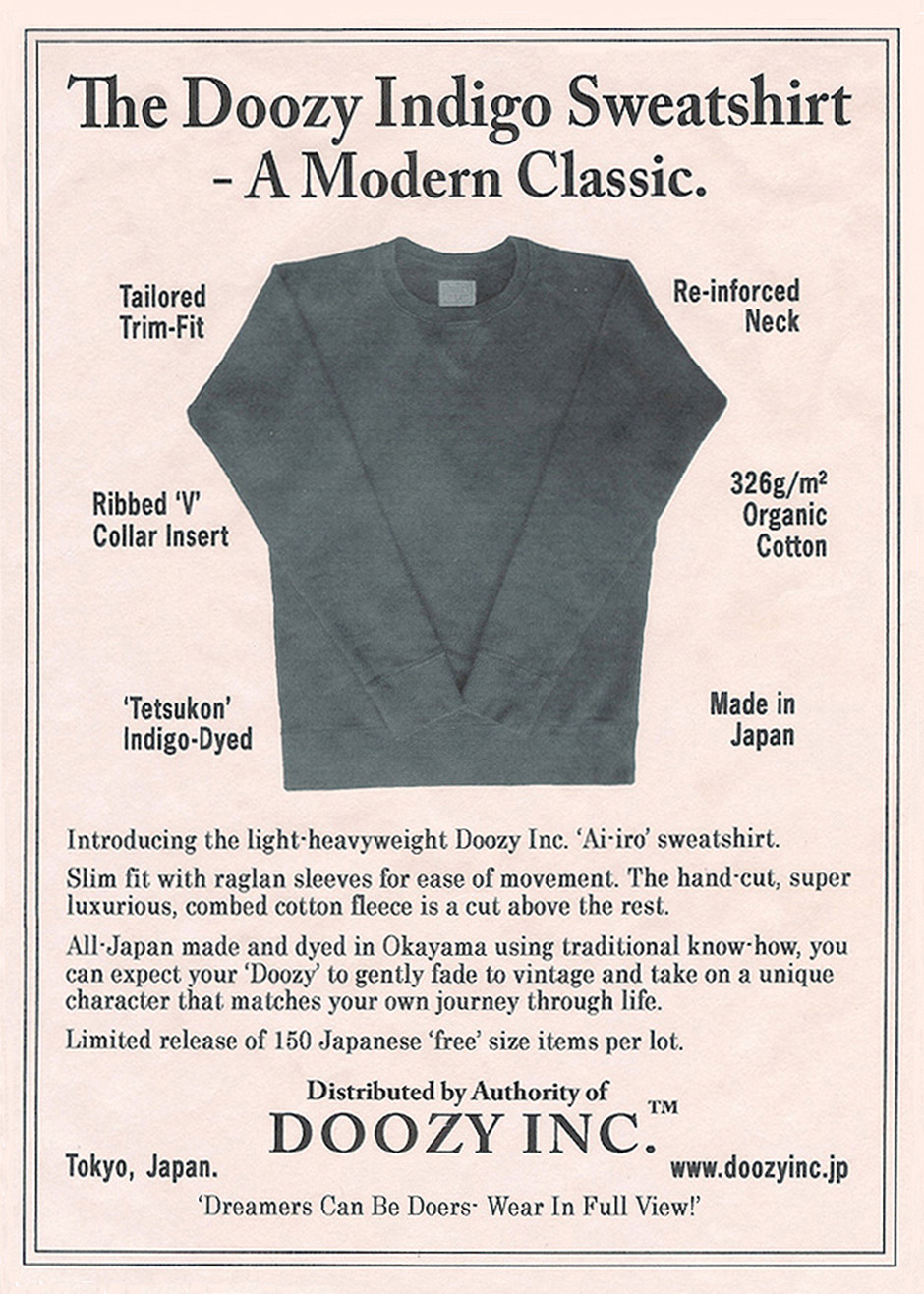 Doozyインディゴスウェットシャツの2014年秋/冬雑誌用広告